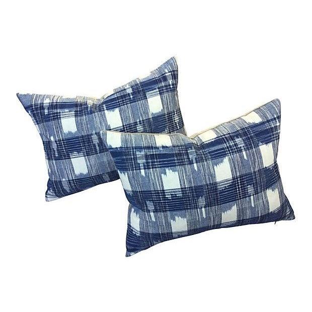 Hand Woven Indigo Ikat Pillows - Pair - Image 1 of 5