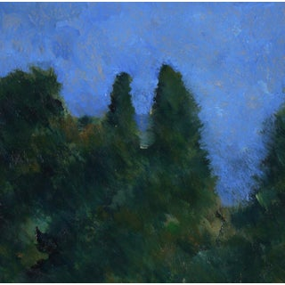 """""""Blue Skies"""" Late 20th Century Oil on Paper Landscape For Sale"""