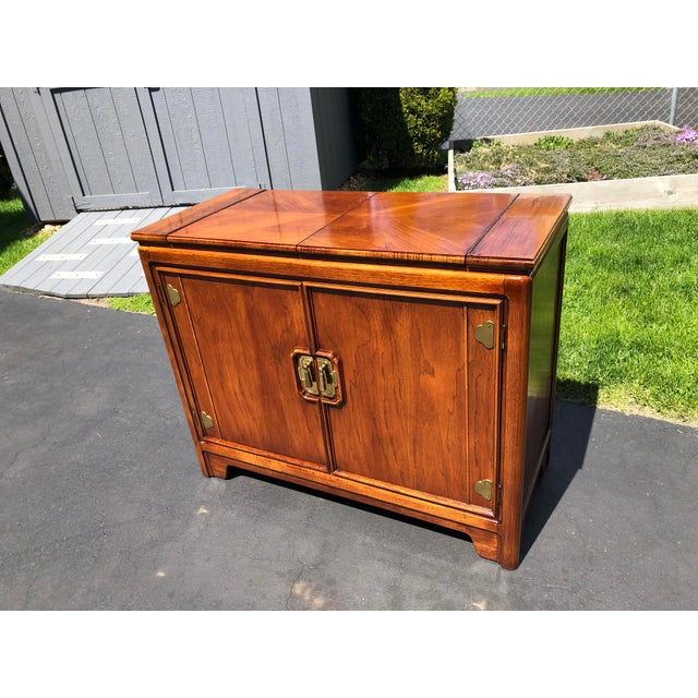 1970s Thomasville Asian Style Flip Top Bar Cabinet For Sale - Image 13 of 13