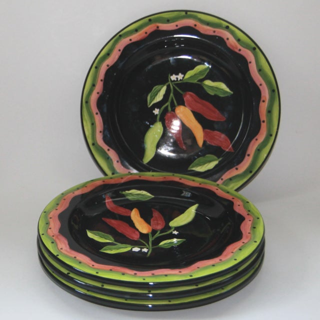 """Set of 4 hand painted dessert or luncheon plates 9 1/5"""" in bright red, green and pink over a black background, by Gates..."""