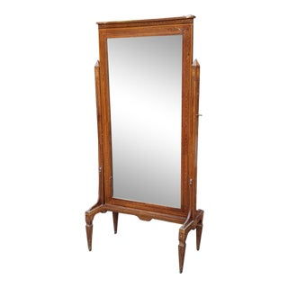 Antique 19th Century Edwardian Inlaid Mahogany Cheval Mirror on Stand C1880 For Sale