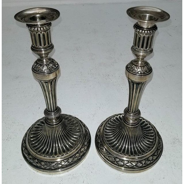 Metal Early 19c Russian Sterling Silver Candlesticks- A Pair For Sale - Image 7 of 13