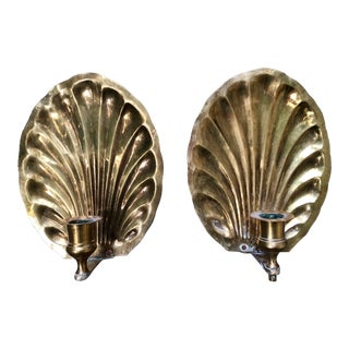 20th Century Hollywood Regency Brass Shell Candle Sconces- a Pair For Sale