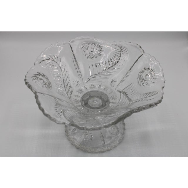 Transparent Mid-Century French Crystal Cut Glass Compote For Sale - Image 8 of 13