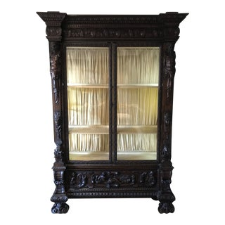 19th C. Carved Mahogany Armoire For Sale