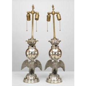 Mid 19th Century 19th Century American Victorian style silver plate eagle base oil lamps- A Pair For Sale - Image 5 of 5