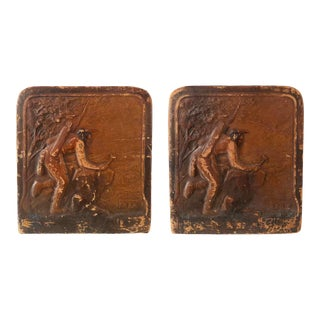 Mid 20th Century Leather on Metal Bookends With Native American Motif - a Pair For Sale