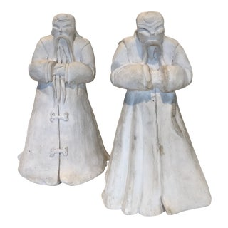 Asian Figurines - Hand Cast 1940's Asian Figures - Set of 2 For Sale