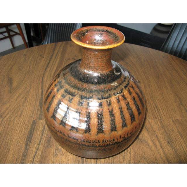 Brown 1976 Mid-Century Pottery Vase For Sale - Image 8 of 11