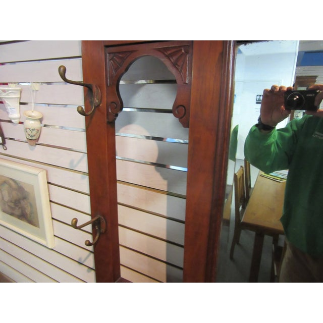Antique Victorian 1800s Walnut Hall Mirror Stand - Image 5 of 11