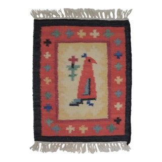Tribal Native Hand Woven Rustic Wool Bird Tapestry For Sale
