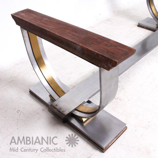 Industrial Steel and Brass Dining Table Base Attributed to Arturo Pani For Sale - Image 3 of 7