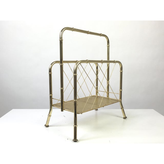 Hollywood Regency, Mid-Century Modern gold metal magazine stand or album holder. Beautiful faux bamboo design with plenty...