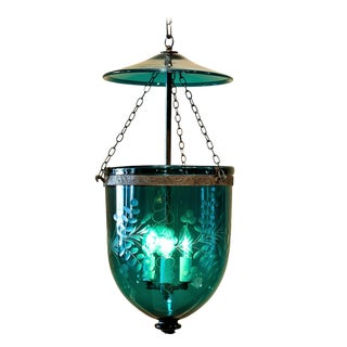 Foilate-Etched Ten-Inch Green Bell Jar Lantern, England, Circa 1830 For Sale