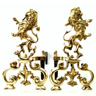 """20th Century Georgian Solid Brass and Iron """"Rampant Lion"""" Andirons- A Pair Preview"""