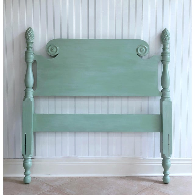 Green Vintage Shabby Chic Twin Bed With Pineapple Finials For Sale - Image 8 of 8