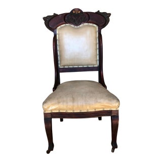 Late 19th Century Antique Victorian Hand-Carved Side Chair For Sale