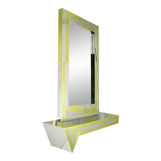 Brass & Chrome Console & Mirror For Sale