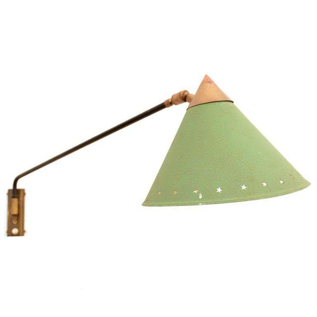 Mid-Century Modern Mid Century Modern Pierre Guariche Green Wall Sconce For Sale - Image 3 of 7