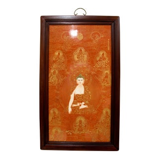 Chinese Framed Porcelain Buddhist Temple Plaque, Buddha and Ten Arhats For Sale