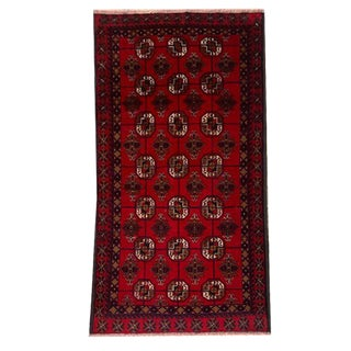 Traditional Hand Knotted Bright Red, Black, Brown and White Baluchi Rug - 3′7″ × 6′10″ For Sale