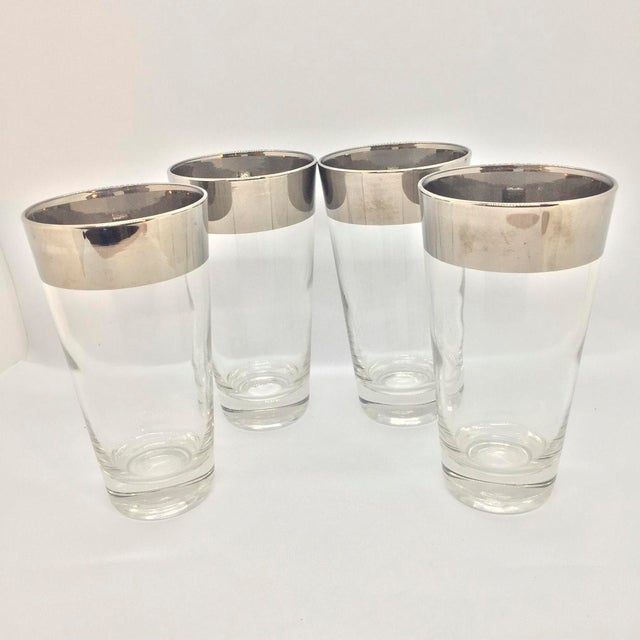 Dorothy Thorpe Mid-Century Platinum Banded High Ball Glasses - Set of 4 For Sale - Image 4 of 4