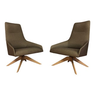 Andreu World Swivel Lounge Chairs - a Pair For Sale
