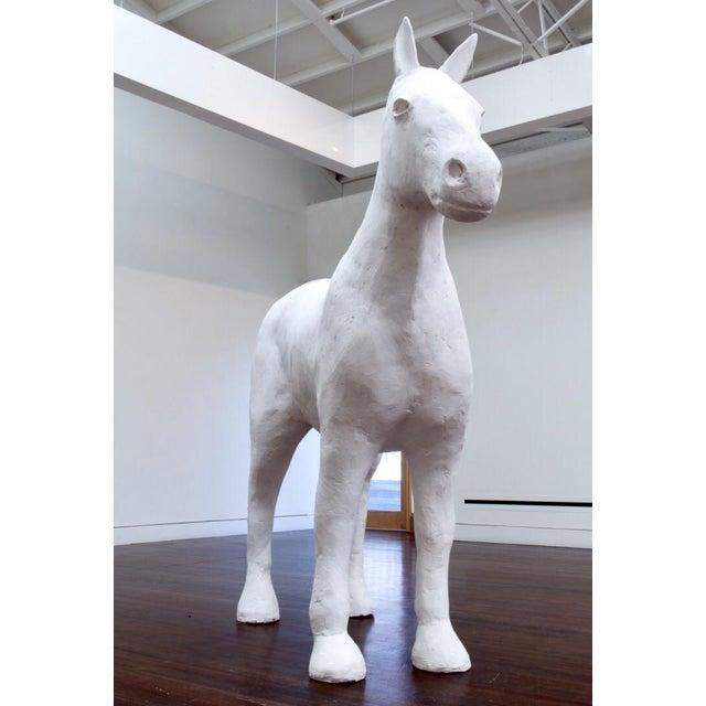 Life Size White Plaster Horse - Image 3 of 4