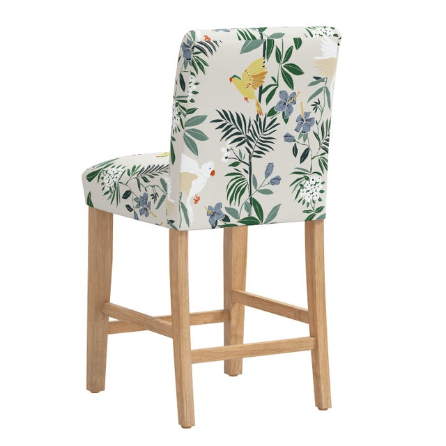 Counter Stool in Belize Chinoiserie Cream For Sale - Image 4 of 8