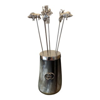 Gucci Horn and Silver Cocktail Picks Container, 1970's Mid-Century Modern For Sale