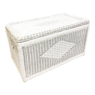 Mid Century Large White Wicker Chest For Sale