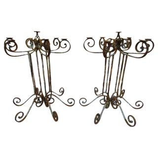Wrought Iron Pedestal Candelabras - Pair For Sale