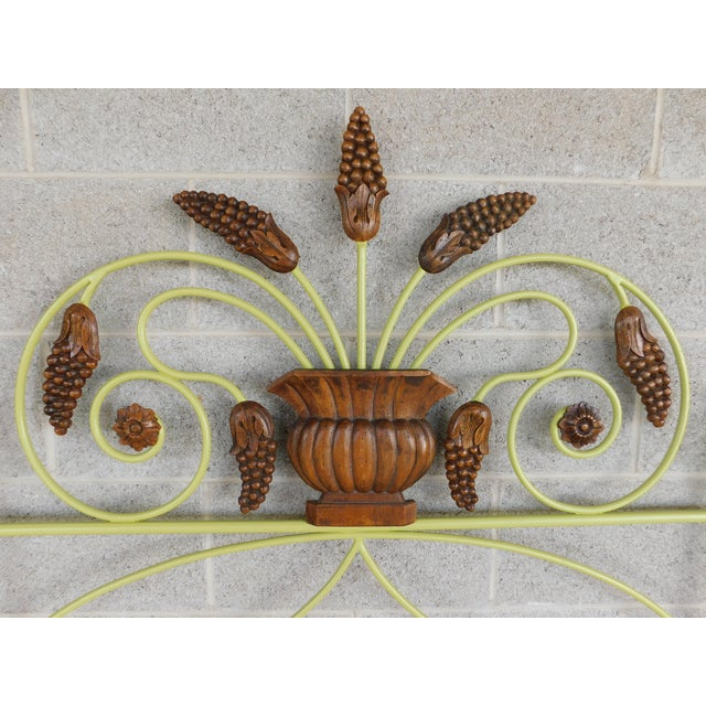 Country Country French Style Wrought Iron Paint Decorated Twin Headboard For Sale - Image 3 of 7