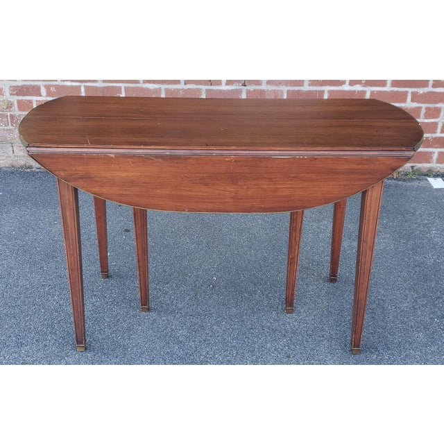 20th Century Mahogany Regency Style Brass Edge Drop Leaf Dining Room Table W/ 4 Leaves C1950 For Sale - Image 9 of 13