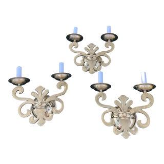 Italian Brass Fleur De Lis Light Sconces - Set of 3 For Sale