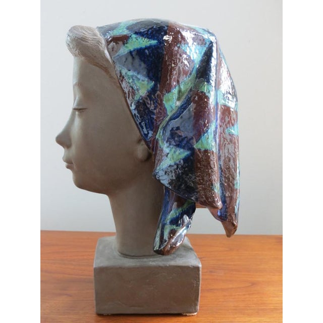 1970s Girl With Scarf Vintage Danish Modern Sculpture For Sale - Image 5 of 8