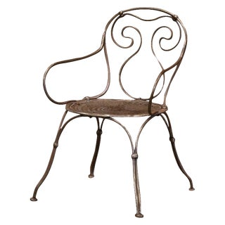 19th Century French Polished Iron Child Armchair For Sale