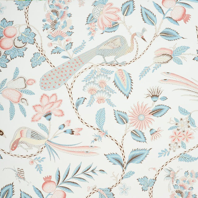 Early 21st Century Schumacher Campagne Wallpaper in Peacock & Rouge (8 Yards) For Sale - Image 5 of 5