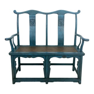 Antique Chinese Distressed Teal Blue Yoke Back Two Seat Bench Settee For Sale