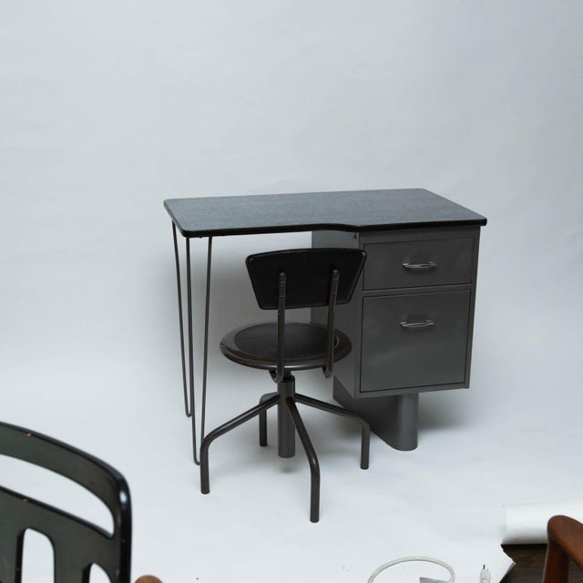 Vintage Metal Student Desk and Swivel Chair - Image 2 of 11