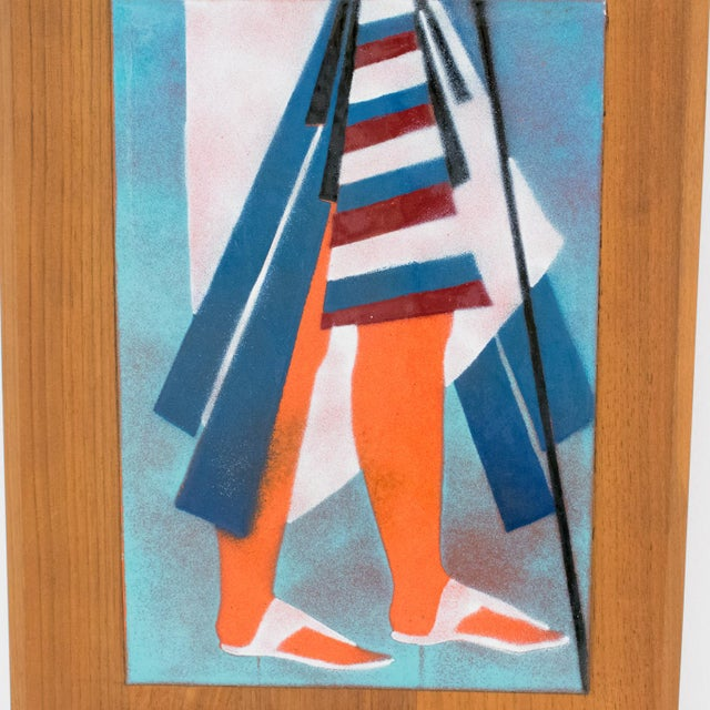 Judith Daner Midcentury Enamel on Copper Artwork Wall Panel Egyptians, a Pair For Sale - Image 10 of 13