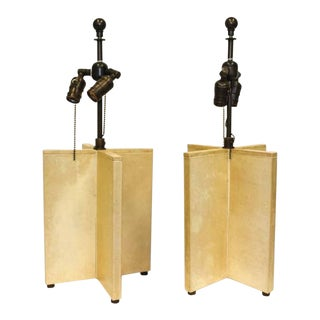 Very Chic X-form Lamps Covered in Parchment in the Style of Samuel Marx For Sale