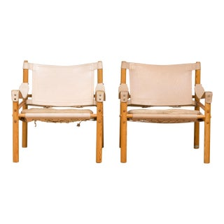 Mid-Century Modern Arne Norell Safari Chairs- A Pair For Sale
