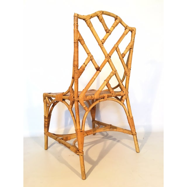 1970s Bamboo Chinese Chippendale Cockpen Cane Seat Dining Chairs - Set of 10 For Sale - Image 5 of 13