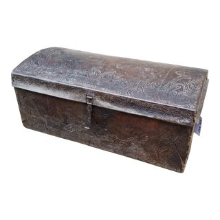 Antique Spanish Colonial Tooled Leather Trunk For Sale