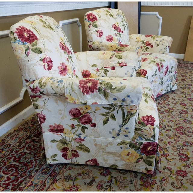 Ethan Allen Floral Upholstered Armchairs #20-7555- a Pair - Image 8 of 11