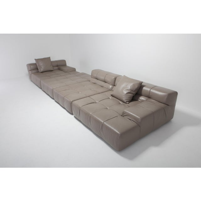 Tufty Time B&b Italia Taupe Leather Sectional Sofa by Patricia Urquiola For Sale - Image 6 of 11