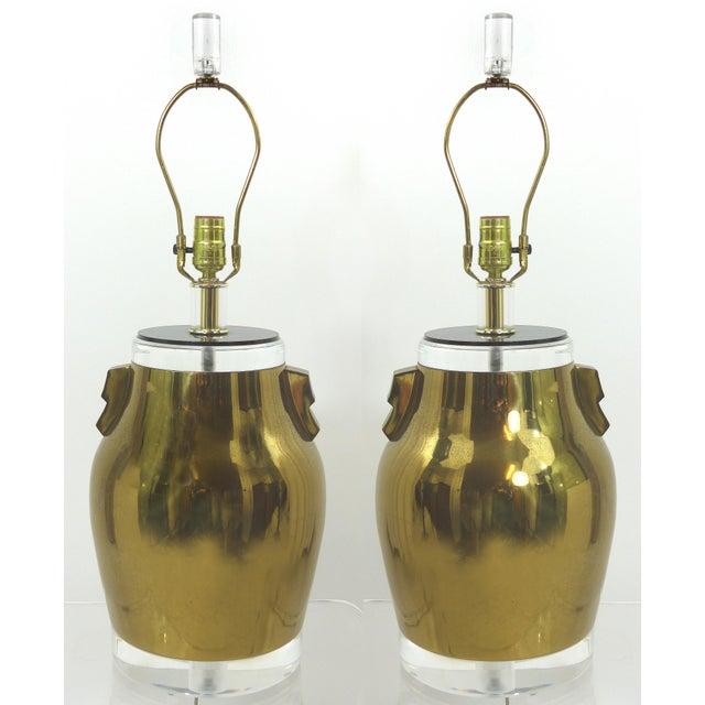 Vintage Brass & Lucite Urn Lamps - A Pair - Image 2 of 10