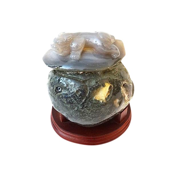 Smoky Carnelian Agate Stone w/ Foo Dog For Sale