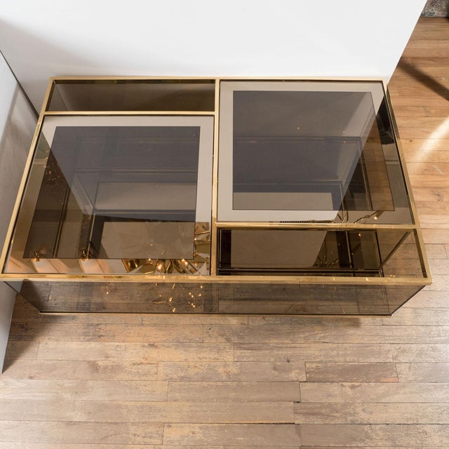 Rectangular Brass and Smoked Glass Coffee Table For Sale - Image 4 of 5